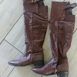 Women's knee high brown riding boots